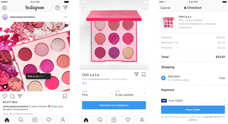Instagram checkout feature for e-commerce business